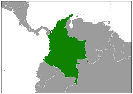 Colombia map on gray base green view