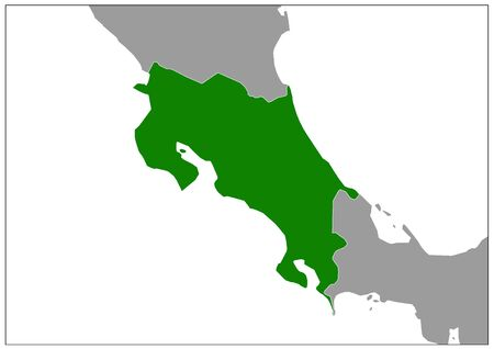 Costa Rica map on gray base green view