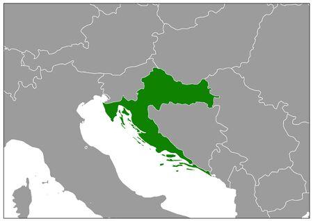 Croatia map on gray base green view