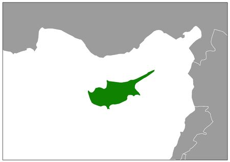 Cyprus map on gray base green view
