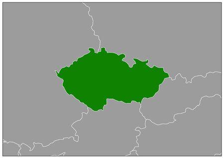 Czech Republic map on gray base green view