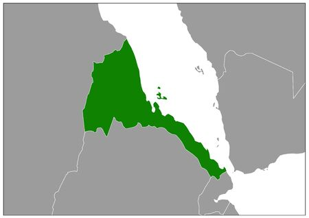 Eritrea map on gray base green view