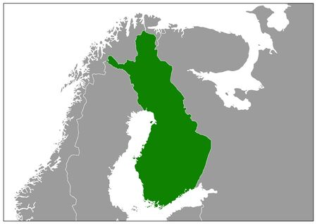 Finland map on gray base green view