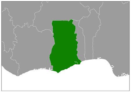 Ghana map on gray base green view