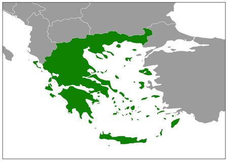 Greece map on gray base green view  イラスト・ベクター素材