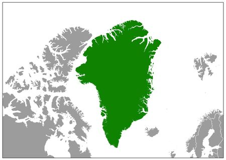 Greenland map on gray base green view Vectores