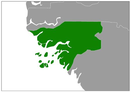 Guinea-Bissau map on gray base green view