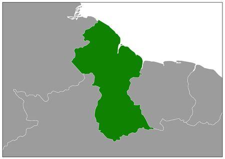 Guyana map on gray base green view  イラスト・ベクター素材