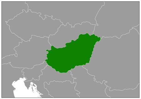 Hungary map on gray base green view