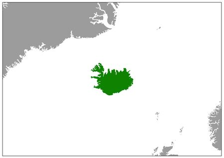 Iceland map on gray base green view