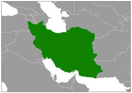 Iran map on gray base green view