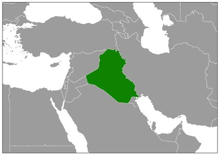 Iraq map on gray base green view