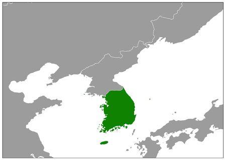 South Korea map on gray base green view