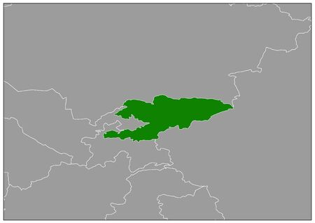Kyrgyzstan map on gray base green view  イラスト・ベクター素材