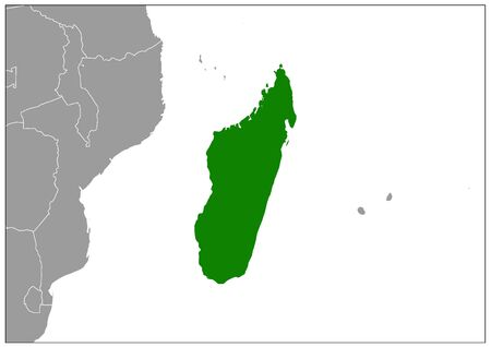Madagascar map on gray base green view