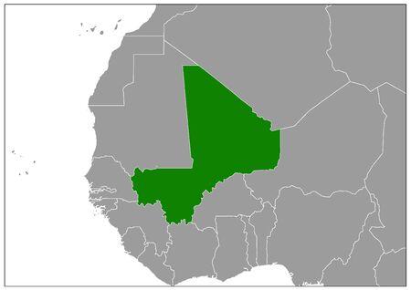 Mali map on gray base green view