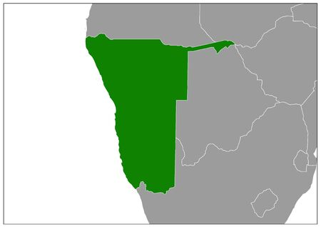 Namibia map on gray base green view