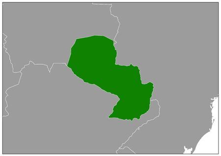 Paraguay map on gray base green view  イラスト・ベクター素材