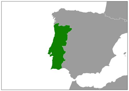 Portugal map on gray base green view