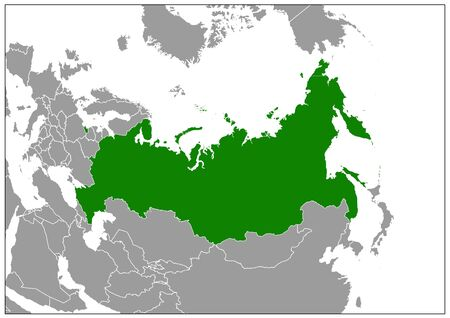 Russia map on gray base green view