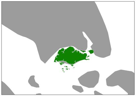 Singapore map on gray base green view