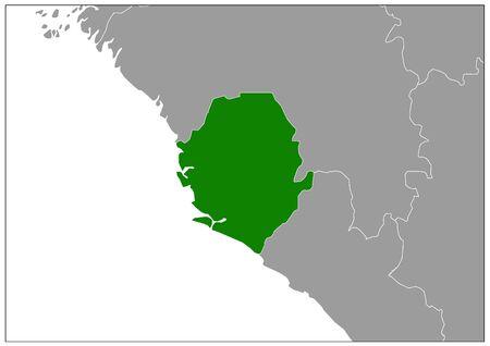 Sierra Leone map on gray base green view