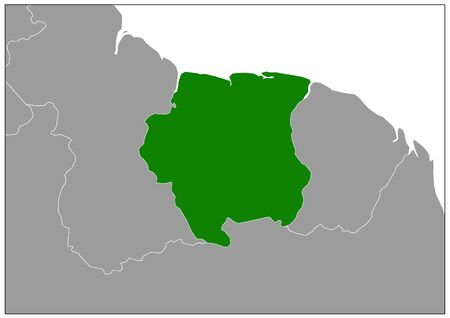 Suriname map on gray base green view