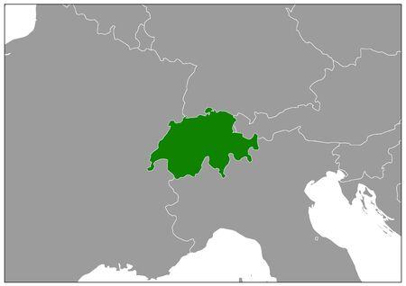 Switzerland map on gray base green view