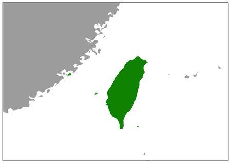 Taiwan map on gray base green view