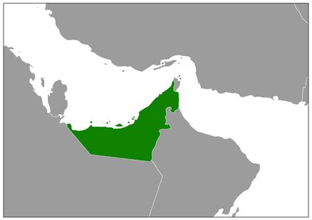 United Arab Emirates map on gray base green view