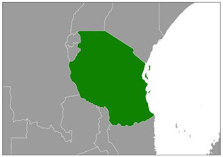 United Republic of Tanzania map on gray base green view