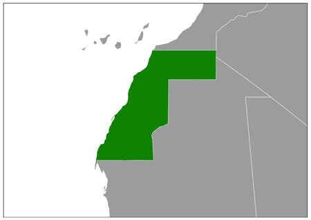 Western Sahara map on gray base green view Illusztráció