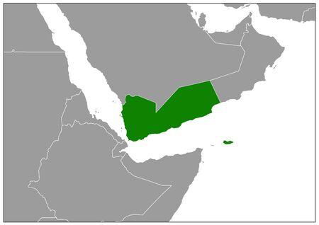 Yemen map on gray base green view