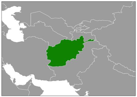 Afghanistan map on gray base green view