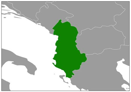Albania map on gray base green view