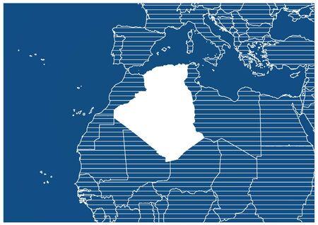 Africa zone Algeria Blue print map classic