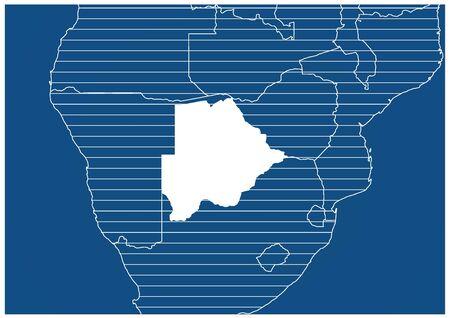 Africa zone Botswana Blue print map classic