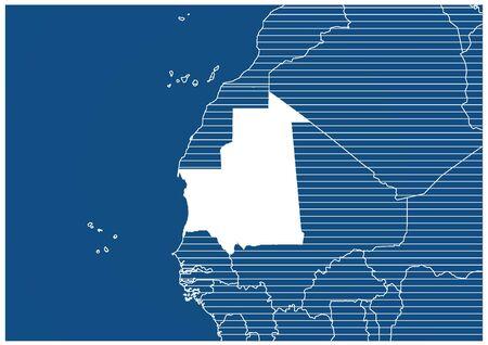 Africa zone Mauritania Blue print map classic