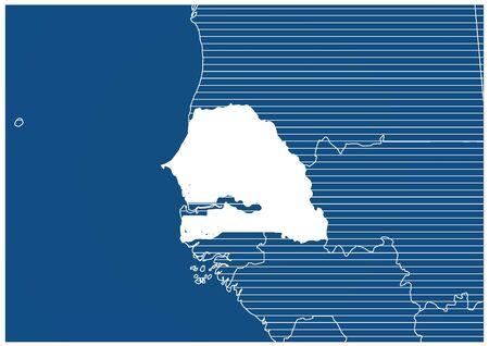 Africa zone Senegal Blue print map classic