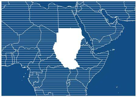 Africa zone Sudan Blue print map classic Ilustração
