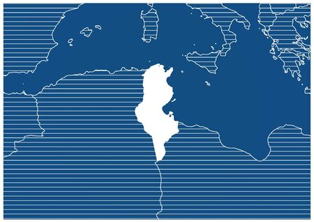 Africa zone Tunisia Blue print map classic Ilustracja