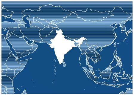 Asia zone India Blue print map classic
