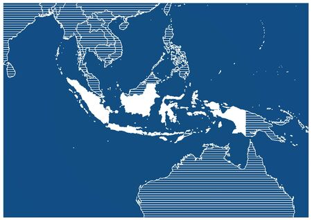 Asia zone Indonisia Blue print map classic