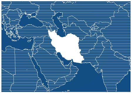 Asia zone Iran Blueprint map classic 向量圖像