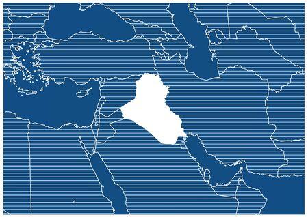 Asia zone Iraq Blue print map classic 向量圖像