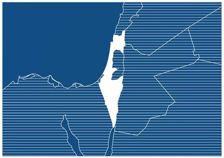 Asia zone Israel Blueprint map classic 向量圖像