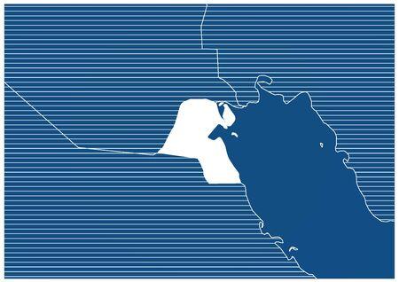 Asia zone Kuwait Blue print map classic