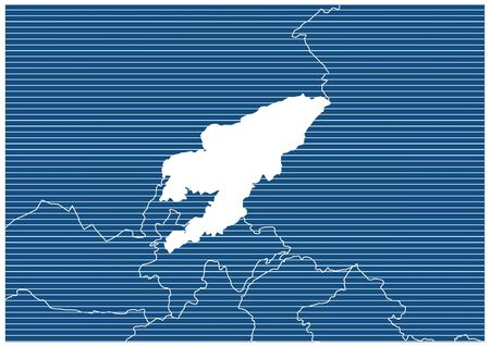 Asia zone Kyrgyzstan Blue print map classic 向量圖像