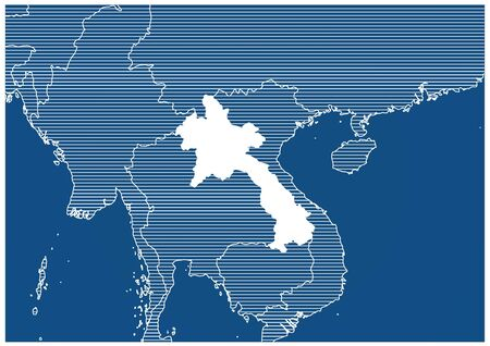 Asia zone Laos Blue print map classic