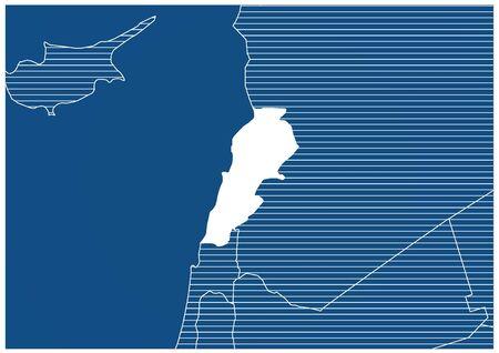 Asia zone Lebanon Blue print map classic 向量圖像